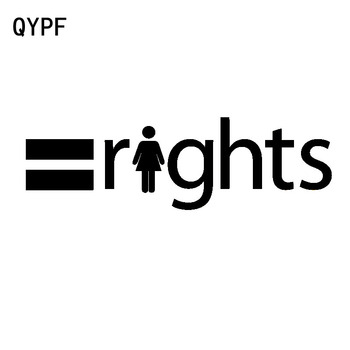 QYPF 15.8CM*4.8CM = Equal Rights Personality Vinyl Car Sticker Decal Black Silver Accessories C15-2746 image