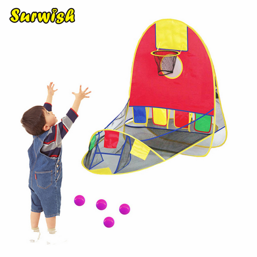 Child Play Games Tent Toddler Basketball Shooting Game Tent Indoor and Outdoor Foldable Playing Tent with Basketball Hoop