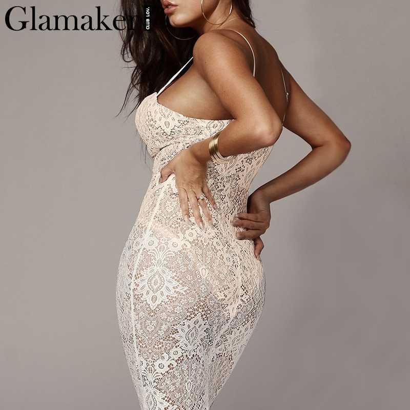 Glamaker czarna koronkowa zrobiona na drutach seksowna sundress damska bodycon przezroczysta sukienka midi eleganckie lato w stylu casual, imprezowa damska sukienka klubowa