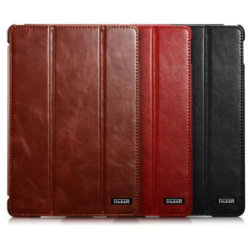 For iPad Mini 4 Case Luxury Vintage Cowhide Genuine Leather Cover for iPad Mini 4 Smart