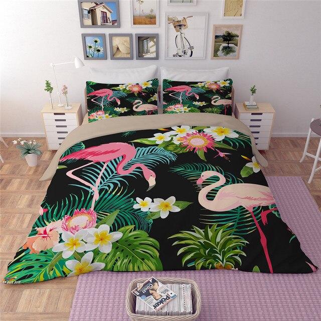 Flamingo Flower Leaf Bedding Sets Tropical Plant Quilt Cover King Size Home Textile Bed
