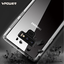 For Samsung Note 9 Case Vpower Fashion Crystal Clear TPU Frame + PC Back Cover for Galaxy Phone Cases