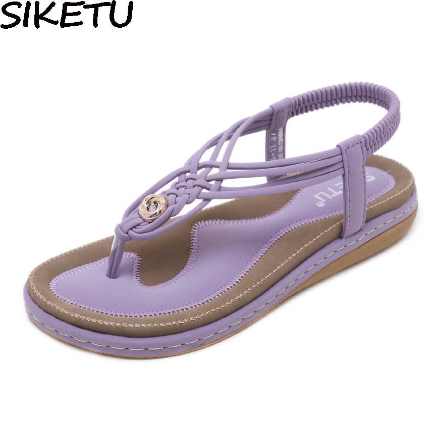 SIKETU Women Casual Sandals Flip Flops Flat Heels Bohemia Summer Beach  Cross Strap Knot Shoes Metal 01d5415fcc7e