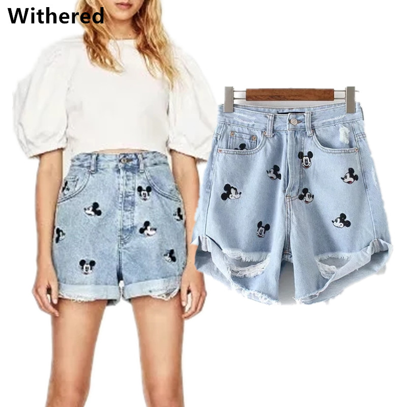 Freeshipping 2018 denim   shorts   women high waist   shorts   vintage embroidery Mickey cartoons hole loose   short   feminino   shorts   women