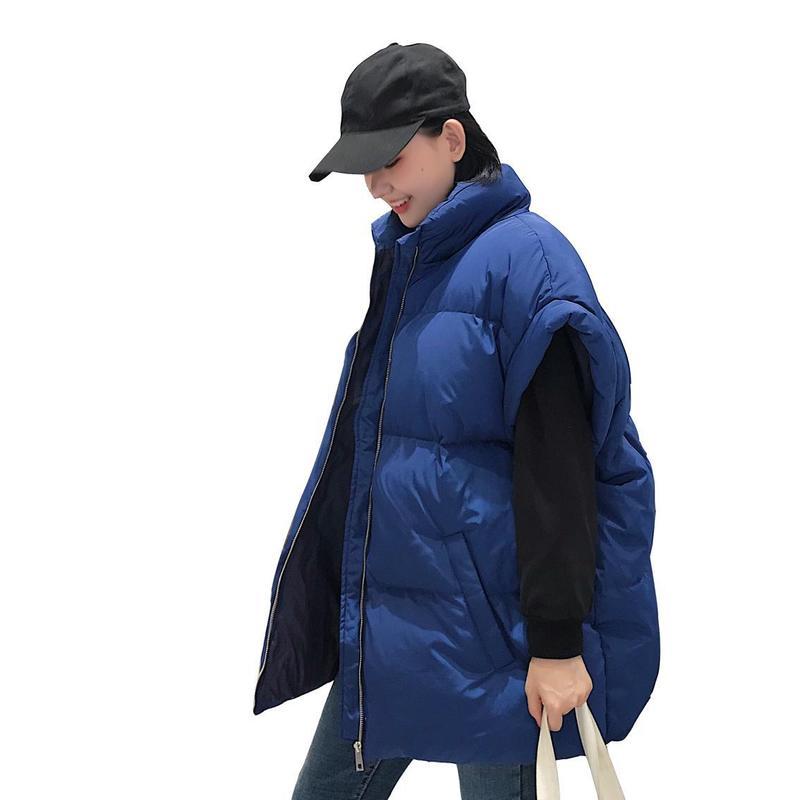 Manteau Bas Robe Femmes Gilet Taille bleu Col Noir Serviette De Maternité Lâche Coton Montant Manches Grande Courtes En Épais wxaA10xHq
