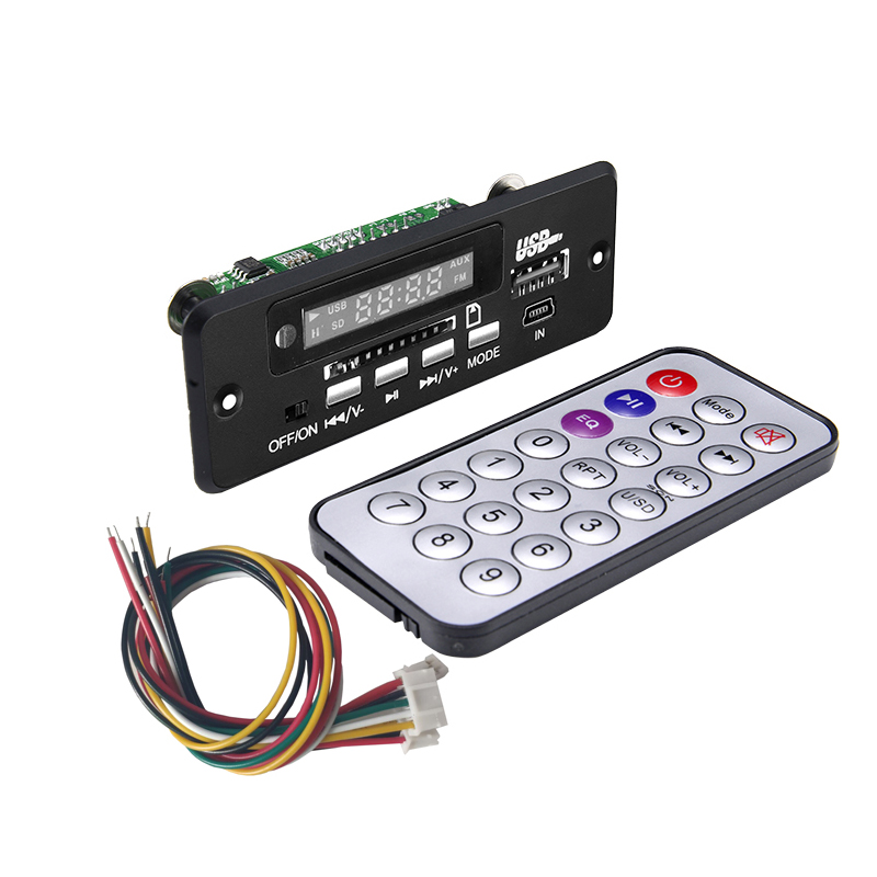 Car Audio 12V FM Radio MP3 Decoder Board Dual Channel USB MP3 Player Module With Remote Control Suitable For Car and Power Ampli in MP3 Player from Consumer Electronics