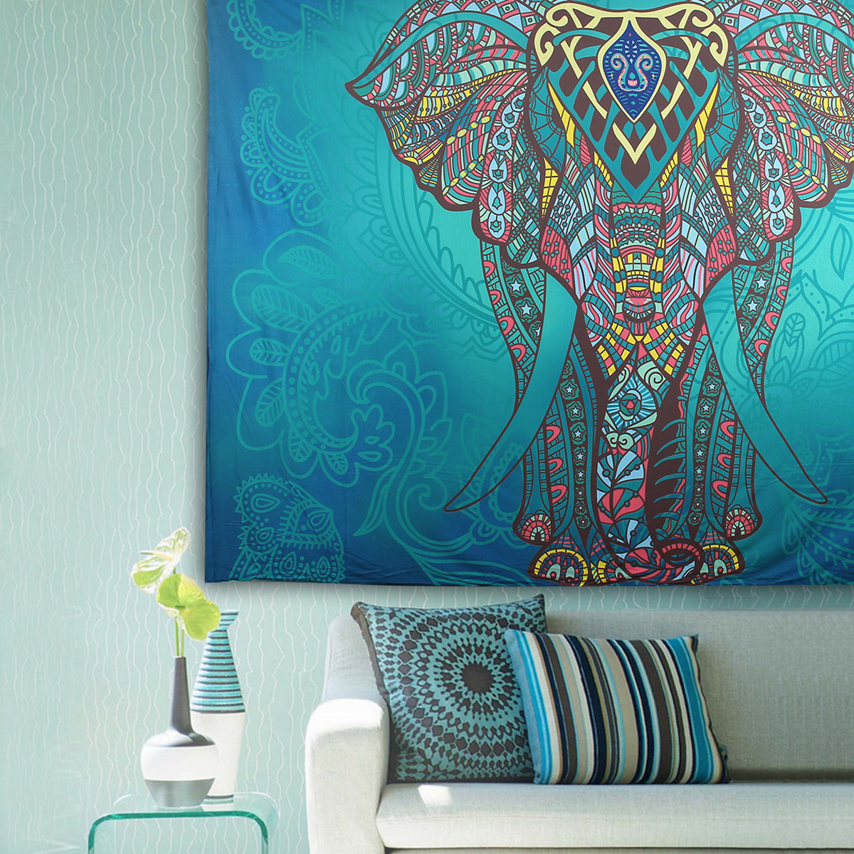 Elephant Mandala Tapestry Throw Towel Hippie Tapestry Floral Printed Home Decor Wall Tapestries Bedspread 210*150CM 10