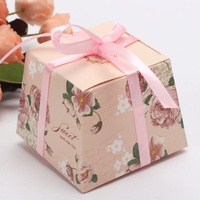 50pcs Peony Flower Print Kraft Paper Gift Sweets Candy Boxes DIY Baby Birthday Wedding Party Favour