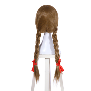 Image 3 - L e mail peruca boneca halloween annabelle cosplay perucas 65cm marrom reta peruca de cabelo sintético perucas cosplay
