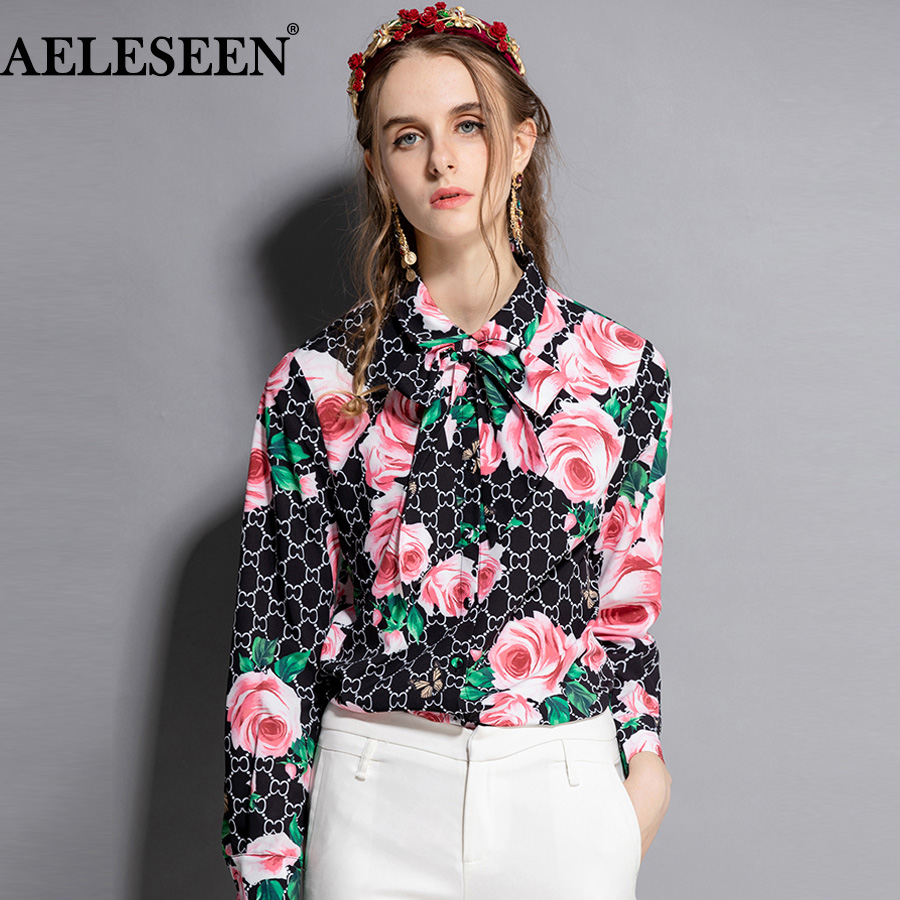 AELESEEN Women Luxury Shirts 2018 Autumn Fashion Top Quality Long Sleeves Black WhiteVintage Floral Print Bow