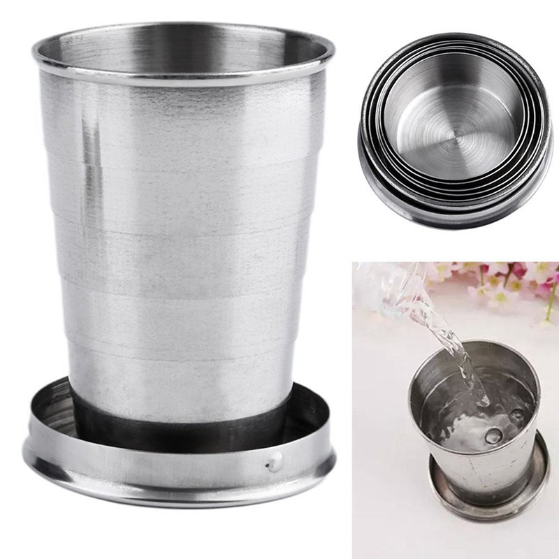 Mini Stainless Steel Portable Outdoor Travel Camping Folding Collapsible Cup Telescopic Mug With Keychain 75Ml 150Ml 240Ml (31)