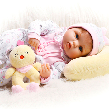 "Cartoon 17"" Babies Reborn Girl Soft Silicone Body Like Real Reborn Baby Dolls Stuffed Doll Toys Fashion Kids Birthday Gifts"