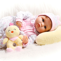 Cartoon 17'' Babies Reborn Girl Soft Silicone Body Like Real Reborn Baby Dolls Stuffed Doll Toys Fashion Kids Birthday Gifts