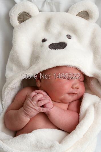 बेबी कोरल मखमली कंबल नवजात कंबल नरम बेबी swaddling सर्दियों सुपर नरम भालू कार्टून Hooded ट्रॉली नग्न नींद बैग