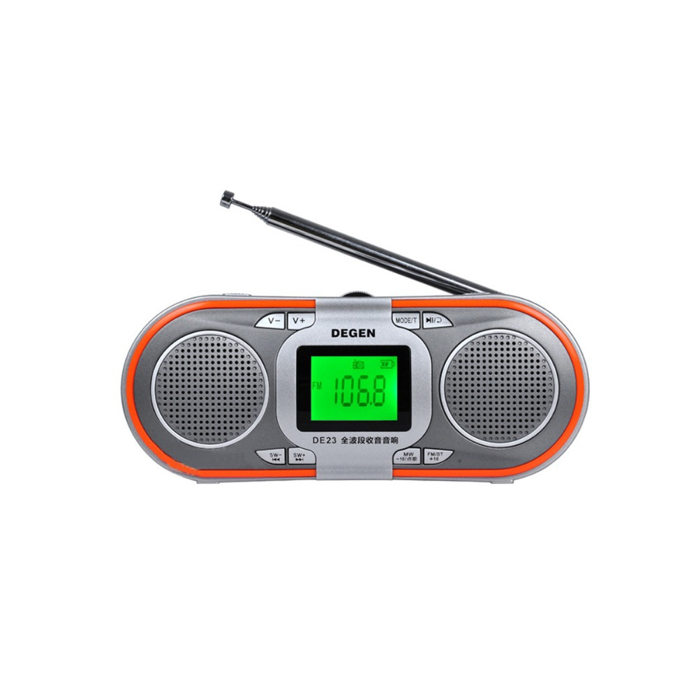 Degen DE23 AM/FM DSP Radio Stereo Portable MW/SW Music Player LCD Display TF Card Reader World Band Receiver Rechargeable Y0117 5pcs pocket radio 9k portable dsp fm mw sw receiver emergency radio digital alarm clock automatic search radio station y4408
