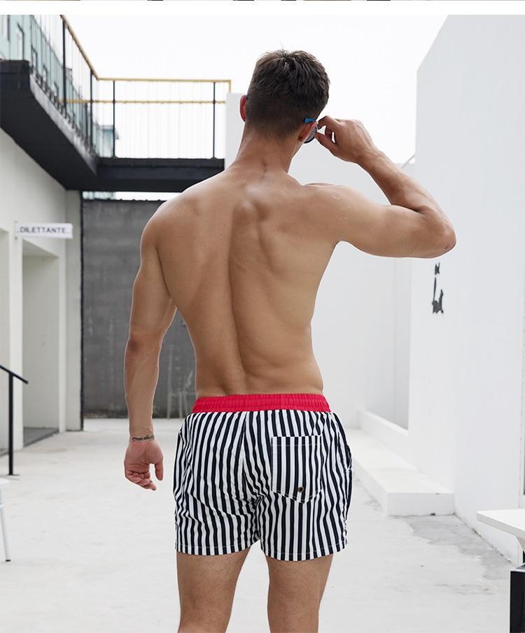 de Banho Swimwear Listras Homens de Boardshorts