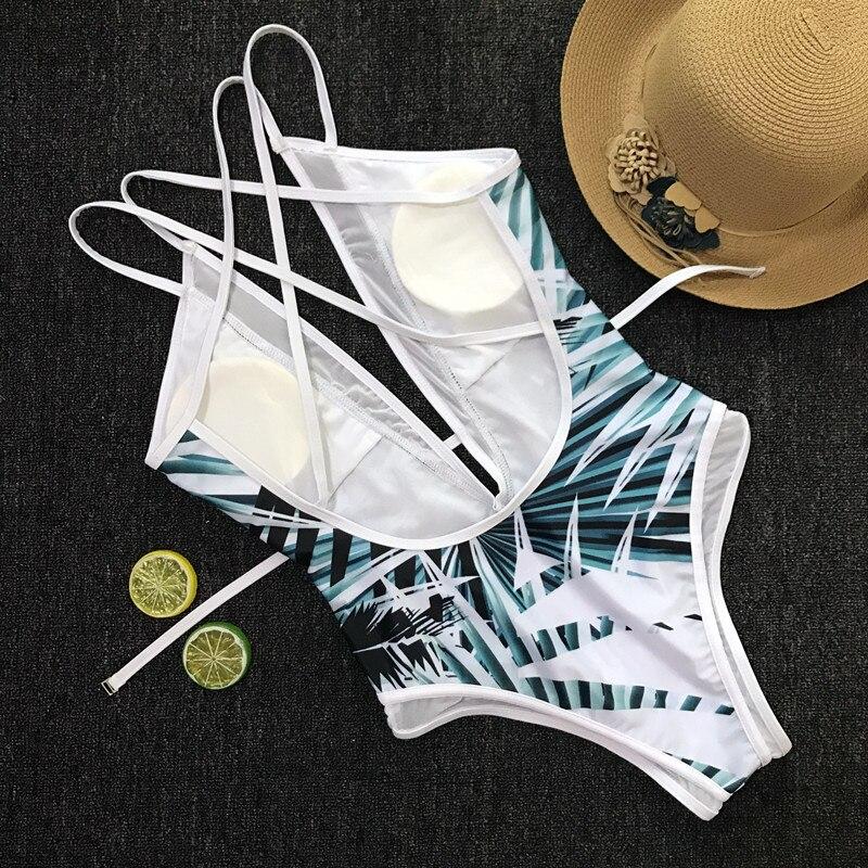 Ariel Sarah 2018 One Piece Swimsuit Bodysuit Piece Swimwear Sexy Leaf Printing Swimwear 3