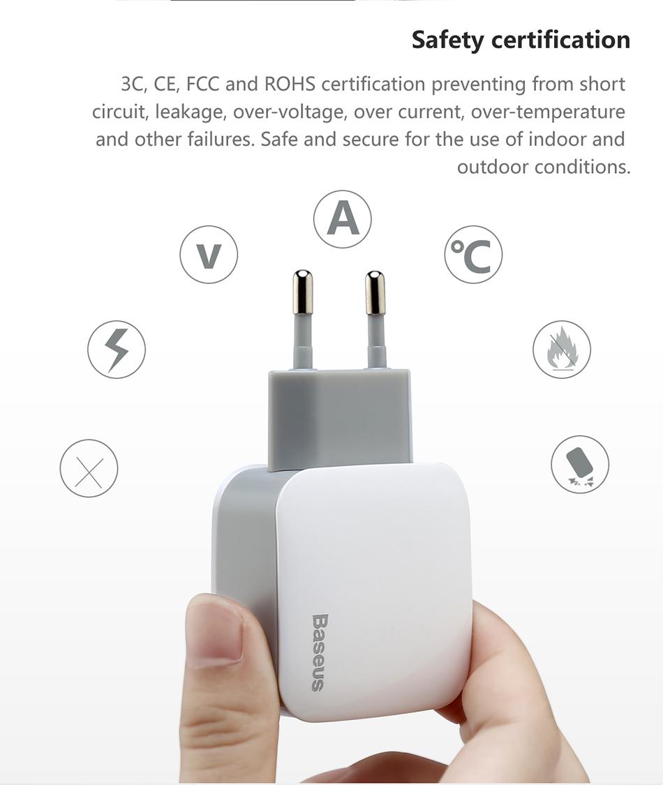 Baseus 2 USB EU Charger Plug For Samsung Huawei Xiaomi Dual USB Port 5V2.4A