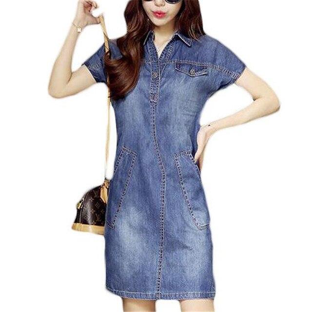 7d86b4b77d21 ZYFPGS 2018 Denim Dress Plus Size Jeans Women Dresses Vintage Office Casual  Dress Elegant Party Dress ZMF7489532