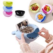 Креативная многофункциональная пластиковая миска для закусок в форме ленивой чаши, двухслойная коробка для хранения, тарелка для фруктов с...