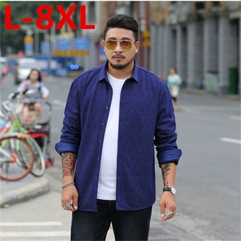 2018 new plus size 8XL 7XL 6XL  winter men shirt with velvet thick male thermal plus print long-sleeve slim clothing casual warm
