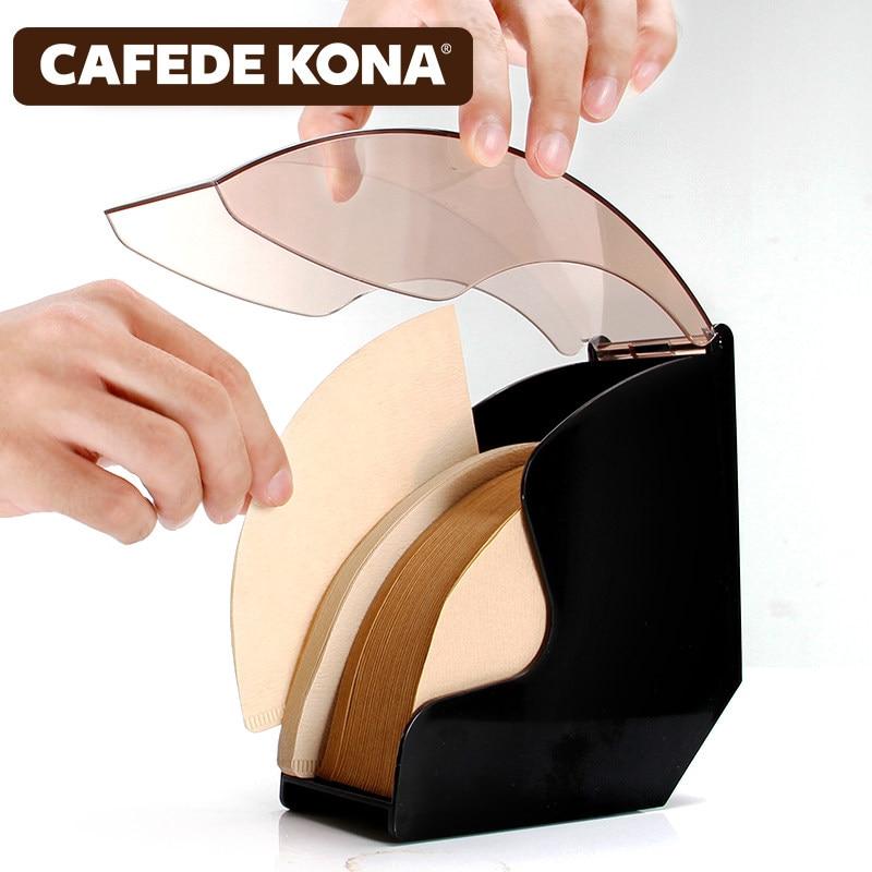 Encantador V60 Filtro De Papel/tapered De Caja De Papel De Rack De Almacenamiento Soporte De Café Herramientas A Prueba De Polvo Con Cubierta