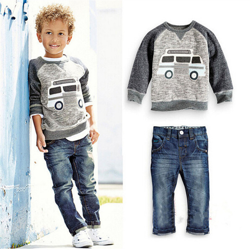 2017 Kids Clothes Boys Spring Clothing Sets Custumers For Baby Boy Roupas Infantis Menino Children T-shirt+Denim Jeans Cars Suit 2pcs children outfit clothes kids baby girl off shoulder cotton ruffled sleeve tops striped t shirt blue denim jeans sunsuit set