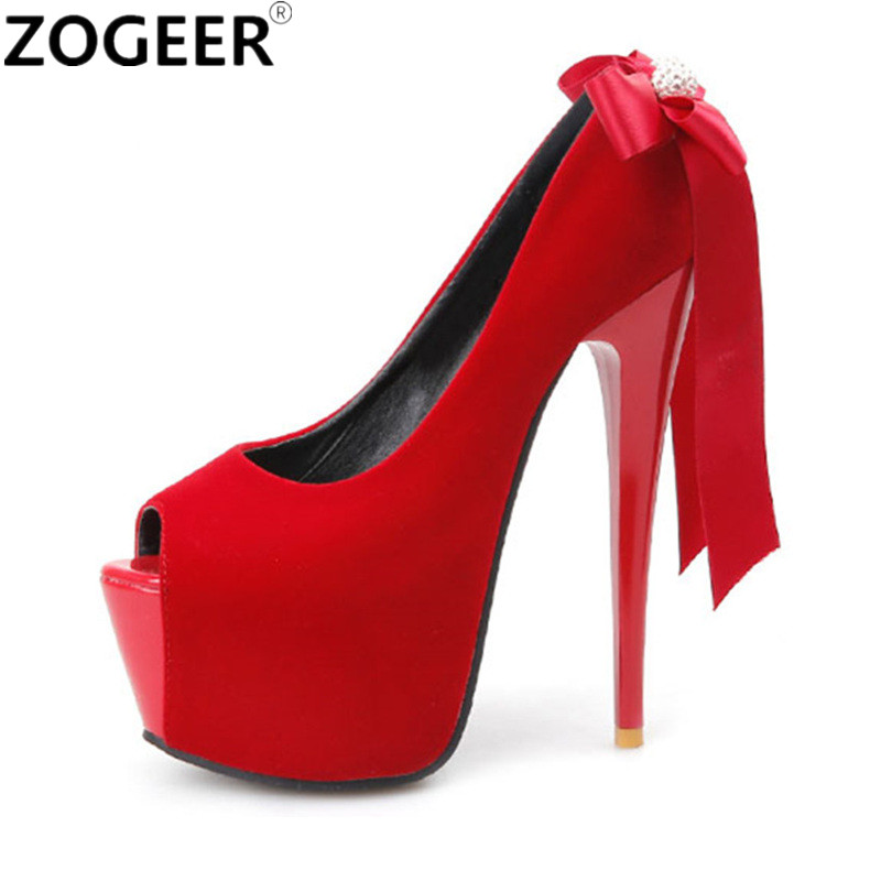 Plus size 43 Spring Fashion Sexy Women Pumps Peep Toe Platform High Heel Black Red Women Wedding Shoes Extreme High Heels 16CM plus big size 40 50 brand new sexy red peep toe planting thin high heel pumps fashion women party wedding sandals free shipping