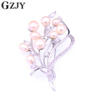 GZJY Vintage Gold Color Pearl Zircon Brooch Pins For Women Shell Flower Brooch Fashion bouquet Wedding Party Dress Accessories