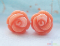 Hot selling> free shipping 12771 Hand Carved pink coral rose stud earring Bride jewelry free shipping