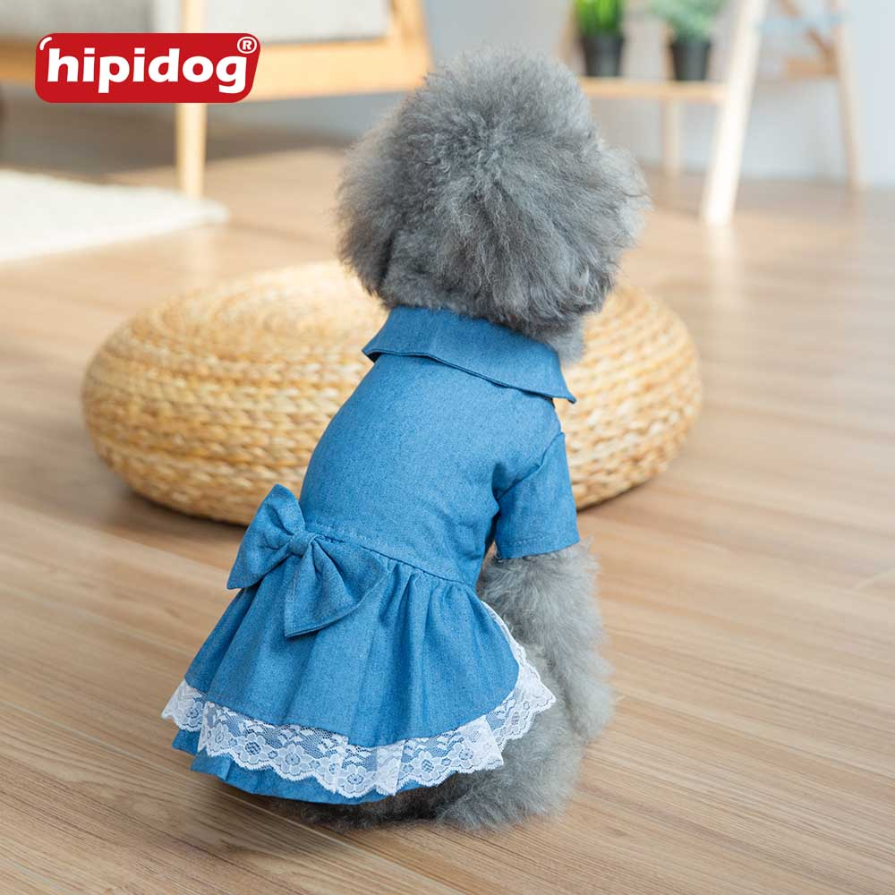Hipidog Spring Summer Pet Dog Dress Jeans Princess Lovely Bow Skirts Dress Clothes for Small Dogs Puppy Chihuahua Cats Clothing