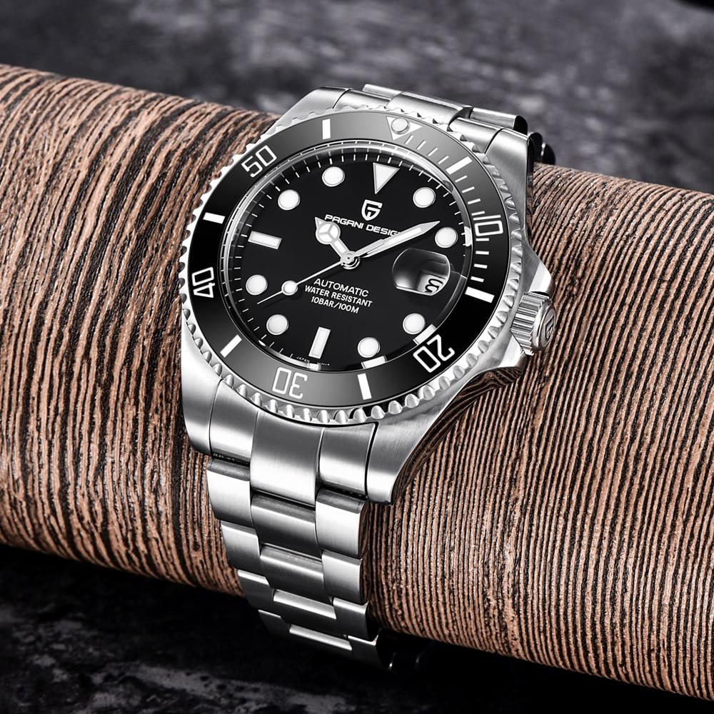 PAGANI Design Brand Luxury Men Watches Automatic Black Watch Men Stainless Steel Waterproof Business Sport Mechanical Wristwatch - 3