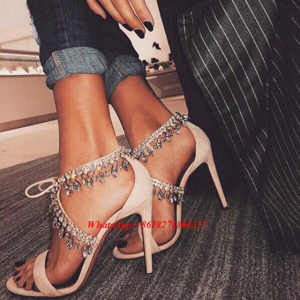 ФОТО Luxury Designer 2017 Summer Fashion Sandels Elegant Crystal Bridal Wedding Shoes Lace Up Rhinestone Sandals Women's High Heels
