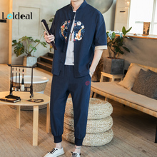 LOLDEAL Summer Chinese Mens Embroidered Hanfu Cardigan Jacket Nine Pants Fish Casual Set