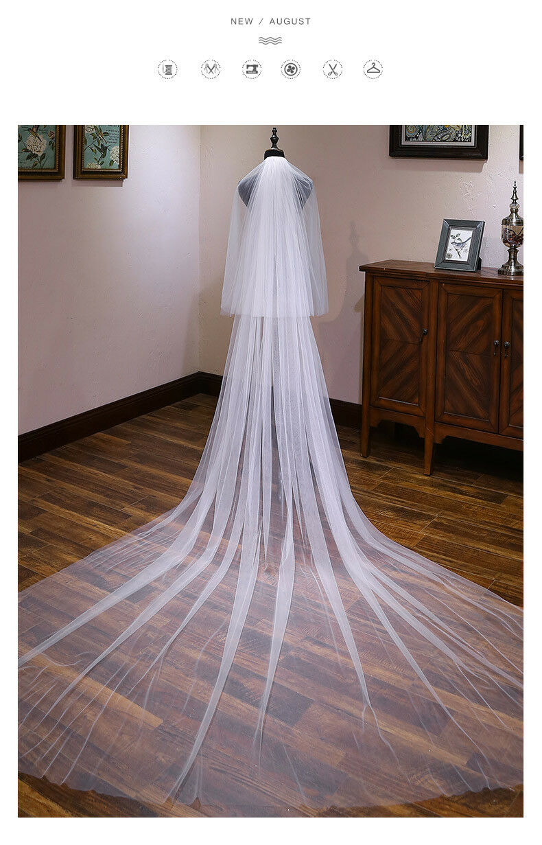 High Quality Veils Vintage Sheer Wedding Bridal Veil 2 Layer White Ivory Black Champagne Vail+Comb Cathedral 1.5m  2m 3m 3.5m 5m