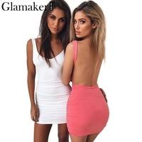 Glamaker Elegant Backless Summer Dress Women Slim Bodycon Short Dress Sleeveless Sexy Party Club Sundress Vestidos