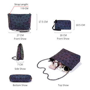 Image 4 - Lovevook bag set women handbag luxury designer folding crossbody shoulder bag female purse and ladies geometric luminous bag