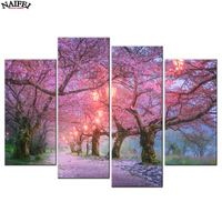 4 Pcs Set Pink Cherry Tree Diamond Painting Modern Natural Landscape Wall Art Picture For Living