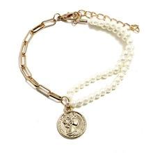JCYMONG, Роскошные браслеты с искусственным жемчугом для женщин, золотой цвет, монеты, многослойный Chian, женский браслет,, модные ювелирные изделия