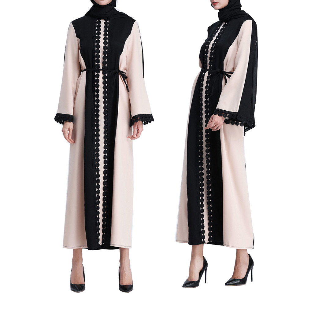 Lace Trimmed Front Abaya Muslim Maxi Kaftan Muslim Fashion Womens Leopard Print Long Sleeve Party Long Maxi Dress Robey53 Ample Supply And Prompt Delivery Strollers Accessories Activity & Gear