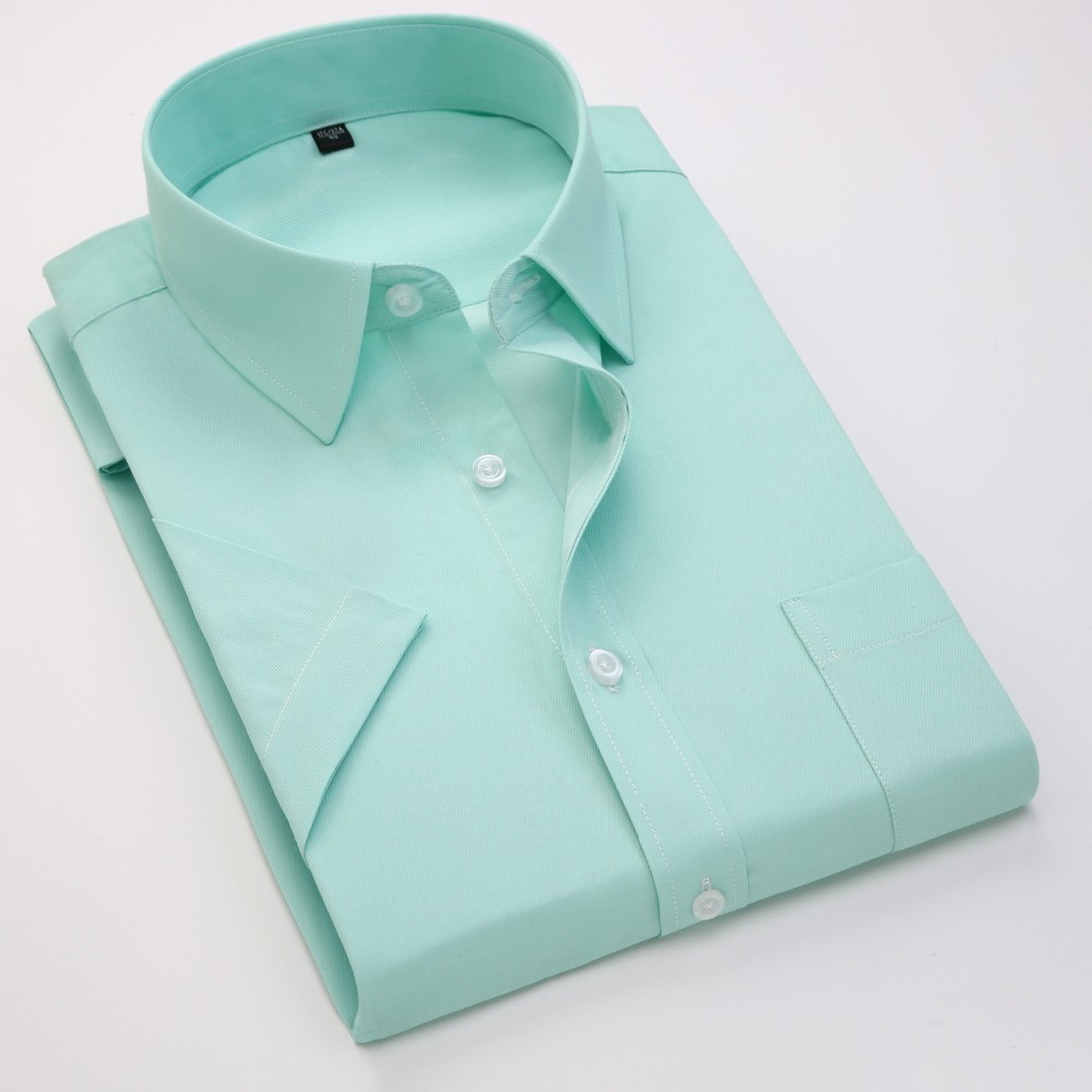 Summer Business Work Shirt Square Collar Short Sleeved Plus Size S To 7xl Solid Twill Striped Formal Men Dress Shirts No Fade