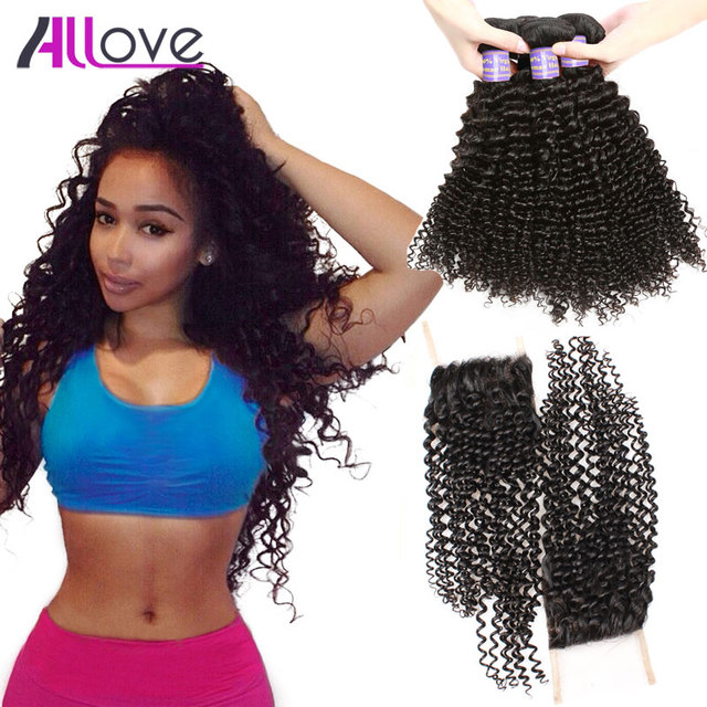 8A Malaysian Curly Hair With Closure 3 Bundles Malaysian Virgin Hair with Closure Kinky Curly Hair Weave Bundles Lace Closure