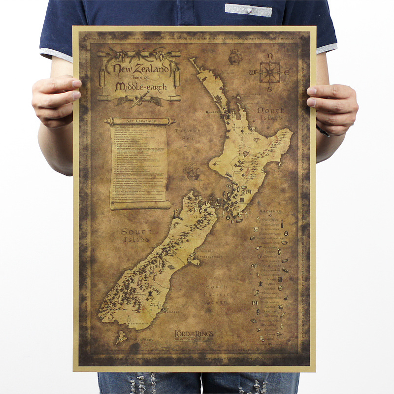 Retro Vintage Poster Kraft Paper About New Zealand Mysterious Map - Where to buy maps