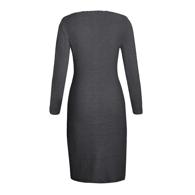 94627932554f ... ADEWEL 2018 Spring Women Long Sleeve Bodycon Sweater Dress Casual Hand  Knitted Midi Dress Elegant Inner ...