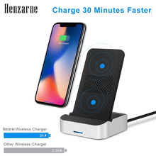 Henzarne Qi Wireless Charger For iPhone X 8 For Samsung Note 8 S9 S8 Plus Xiaomi mix 2s Fast Wireless Charging xiaomi wireless charger for xiaomi mix 2s samsung s9 iphone x qi wireless quick charging smart compatible for mobile phones