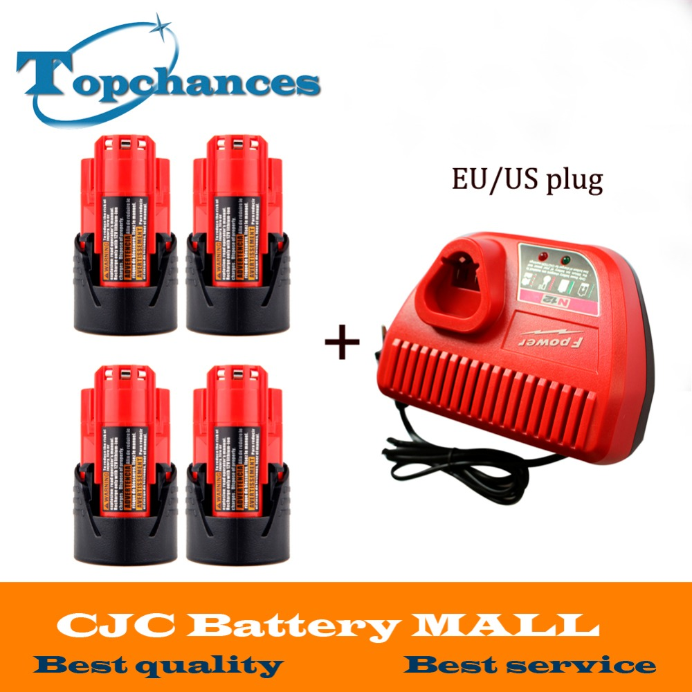 4PCS New M12 12V 1500mAh 48-11-2401 Lithium Ion 18Wh Cordless battery for Milwaukee 48-59-1812,2510-20, 48-59-2401+charger 0 20
