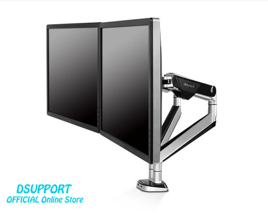 Desktop 10-30 Dual Monitor Holder Mount Arm Full Motion LED LCD Computer Display Stand Loading 2-9 kgs each arm with two usb