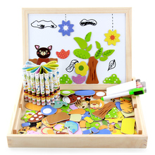 Купить с кэшбэком Children Magnetic wooden jigsaw puzzle toys Tangram board cartoon educational learning toy drawing baby toys for kids girls boys