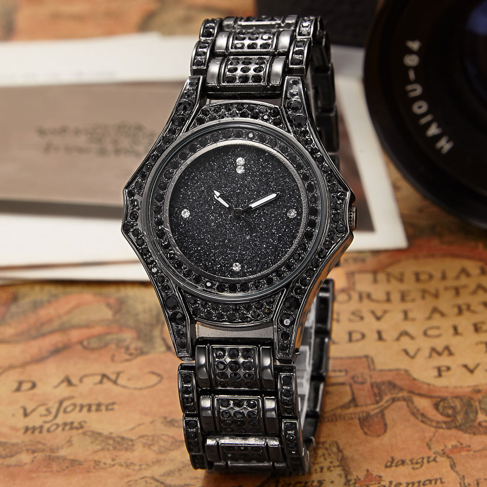2016 Luxury Brand Design Ladies Watch Women Alloy Steel Black Bracelet Full Crystal Diamond Quartz-watch Clock Dress Women Gift new arrival bs brand full diamond luxury bracelet watch women luxury round diamond steel watch lady rhinestone bangle bracelet