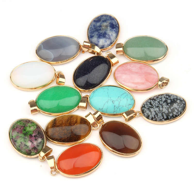 Natural Stone Pendant Oval Shape Pendants Agates/ Tiger Eye Charms for Necklaces Jewelry Making 3.6*1.9*0.7cm